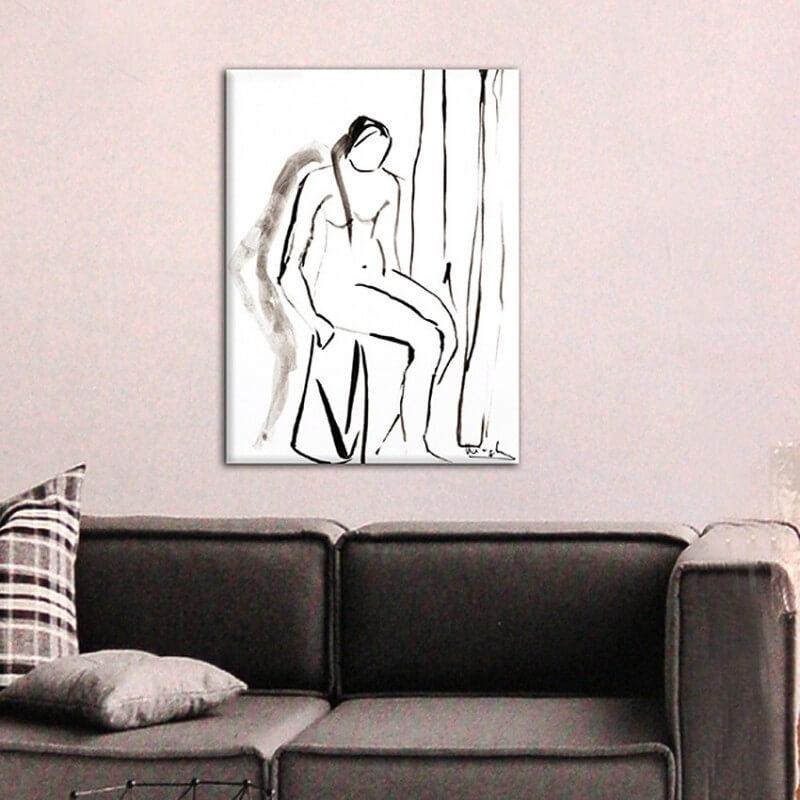 Quadre figuratiu dona asseguda