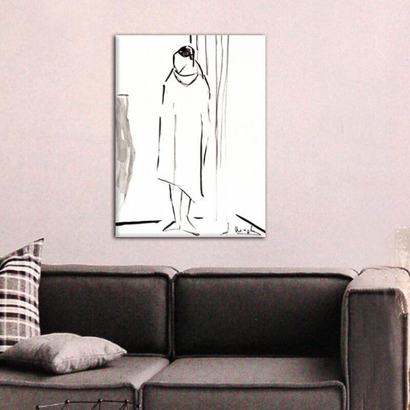 cuadros modernos figurativos para el comedor-mujer secándose