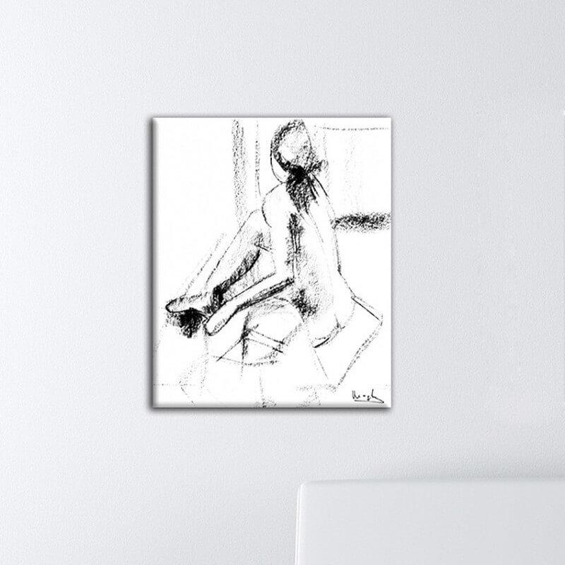 Figurative painting woman turning around