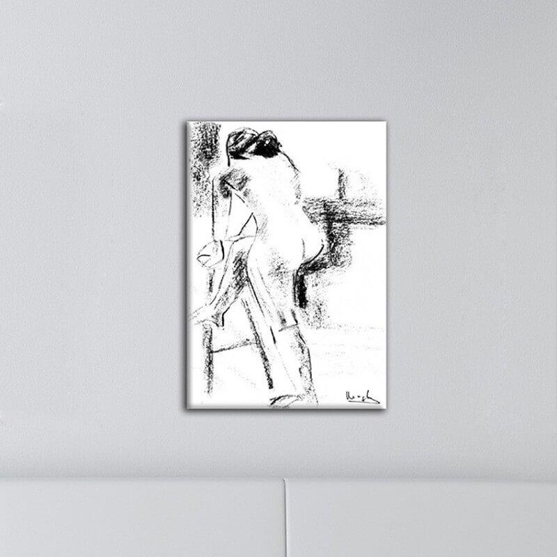 Tableau figuratif femme par derrière