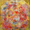 Quadre abstracte quadríptic atmòsfera