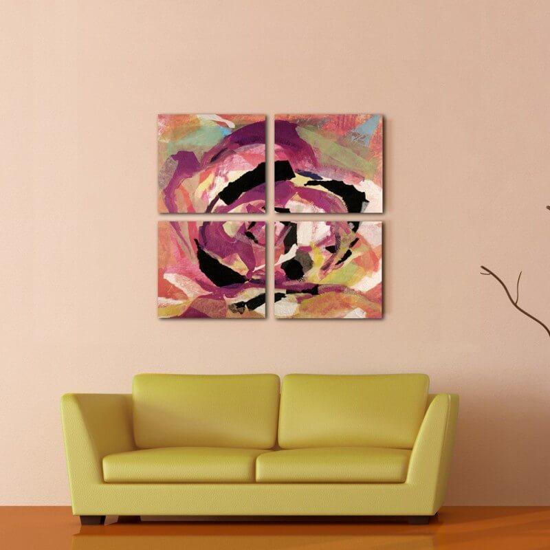 cuadro abstracto cuadríptico ilusión