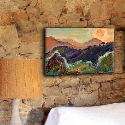 cuadros modernos paisajes para el salón-puesta de sol