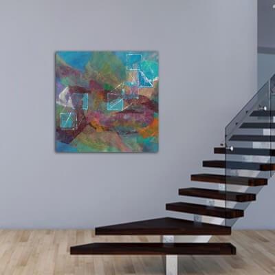 cuadros modernos abstractos para el rellano de la escalera -identidades en construcción