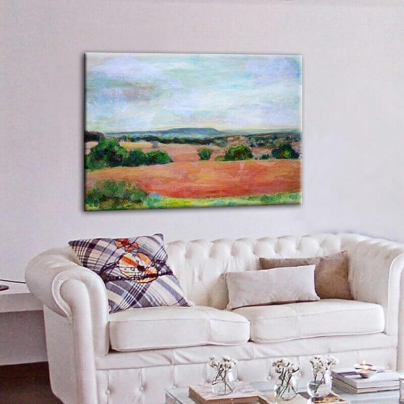 Landscape modern paintings for the diving room-plowed fields